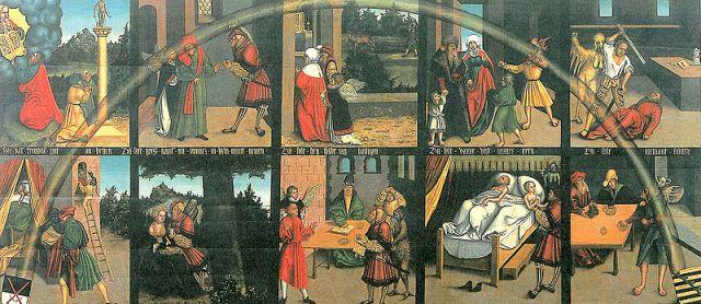 Lucas Cranach the Elder: The 10 Commandments. Click to enlarge.